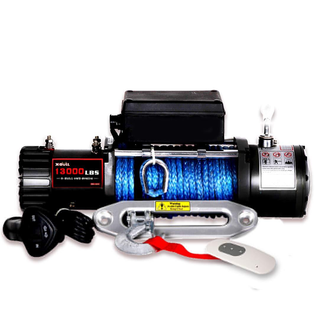 X-BULL 12V Waterproof Synthetic Rope Winch-13000 lb. Load Capacity IP67 (Black) by X-BULL