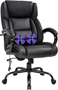 Big and Tall Office Chair 500lb Wide Seat Desk Chair with Lumbar Support Armrest Swivel Rolling High Back PU Leather Computer Chair Massage Adjustable Ergonomic Task Chair for Adults Women(Black)