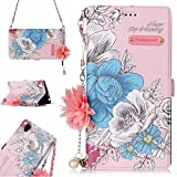 Xperia L1 Case,DAMONDY 3D Flowers Stand Wallet Purse Card Slot ID Holders Design Flip Cover Chain Strap Pocket Purse Leather Magnetic Protective for Sony Xperia L1-pink rose