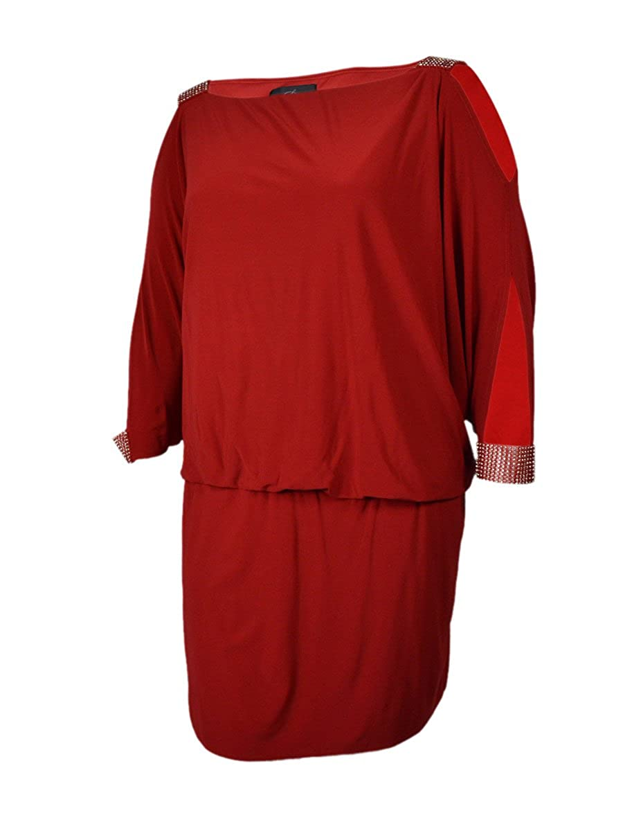 Betsy & Adam Women's Rhinestone Dolman Dress Red)