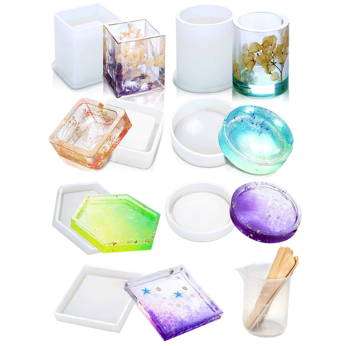 Resin Silicone Molds,9 Pack DIY Coaster Epoxy Casting Molds,Concrete,Cement,Home Decoration,Silicone Molds for Concrete, DIY Coaster/Flower Pot/Ashtray/Pen Candle Soap Holder by MSYG
