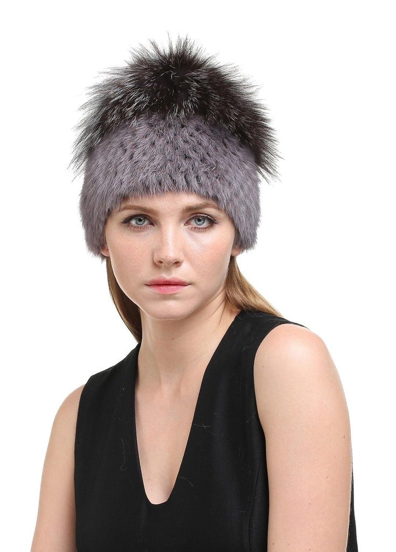Vogueearth Damen'Echte Nerz Pelz Silber Fuchs Pelz Winter Beanie Hut Mütze