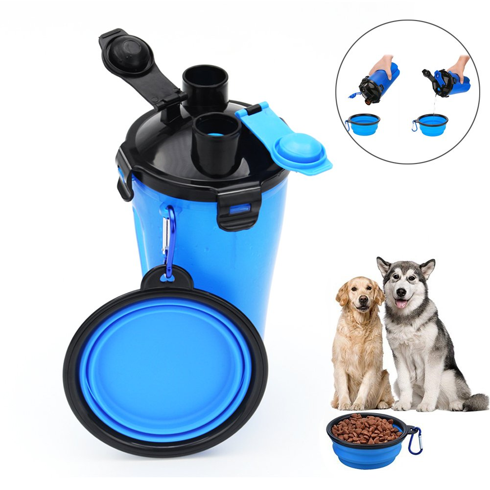 HLovebuy Pet Water and Food Bottle 2 in 1 Water Container Portable Dog Travel Outdoor Food Bottle with Bowl for 250g Food and 350ml Water