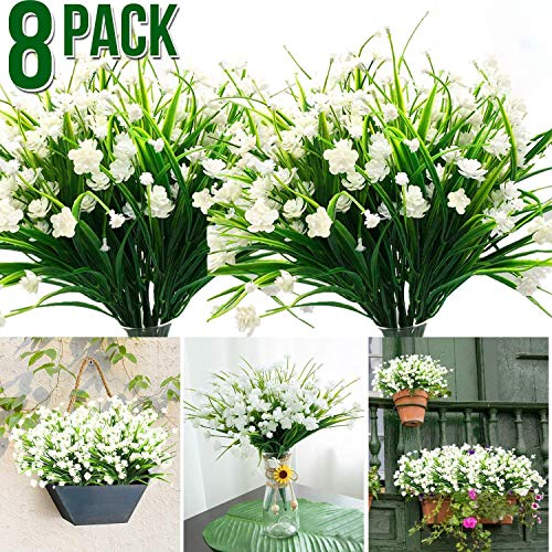 Artificial Fake Flowers, 8 Bundles Outdoor UV Resistant Greenery Shrubs Plants for Indoor Home Wedding Decoration Bulk Table Kitchen Office Hanging Planter Spring Garden Decor(White)