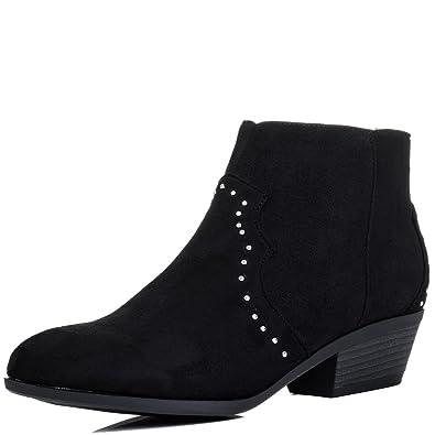Spylovebuy Zip Block Heel Cowboy Western Boots Black Suede Style SZ 7 E3EaQiZtL
