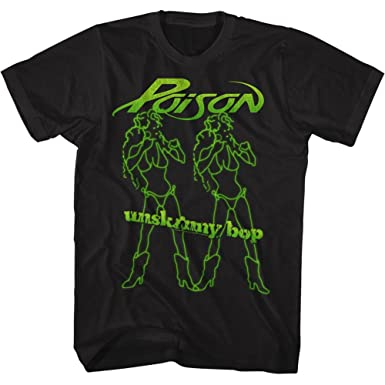 253baf61 Amazon.com: American Classics Poison Rock Band Unskinny Bop Girls Black  Adult T-Shirt Tee: Clothing