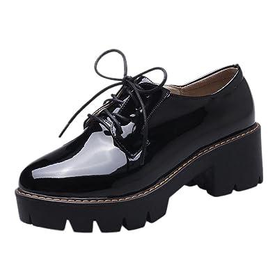 35017e5847e Show Shine Women s Lacing Up Chunky Heel Platform Oxfords Shoes (4.5