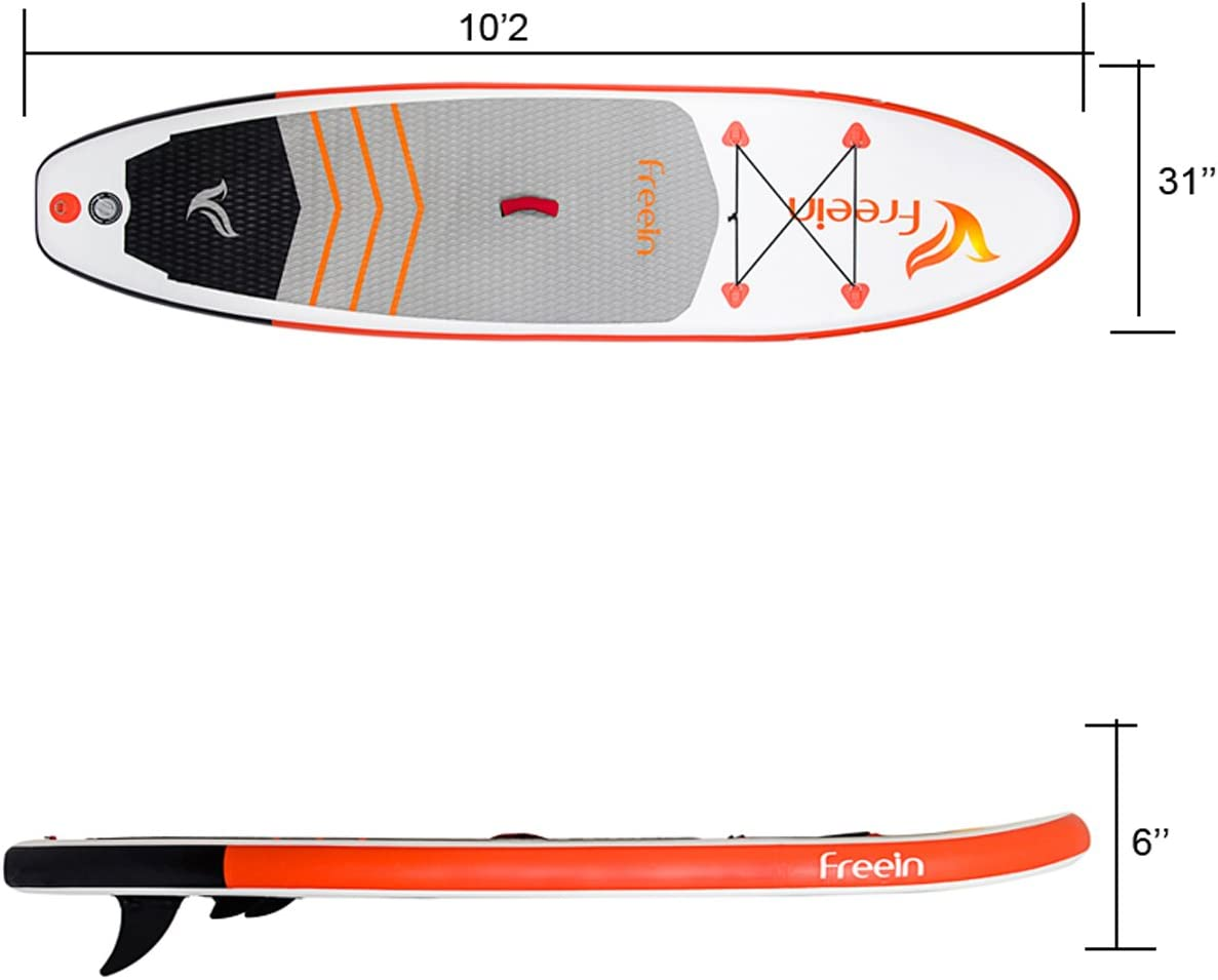 Freein 102 All Round ISUP Inflatable Stand Up Paddle Board 31 Wide 6 Thick SUP Complete Package Includes Adjustable Paddle,Travel Backpack,Coil Leash,Dual Action Pump
