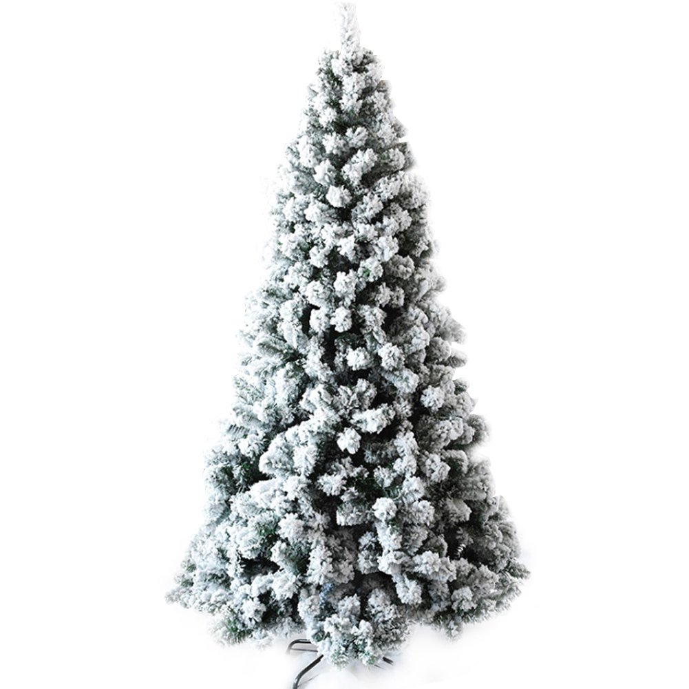 CHICHIC Christmas Tree 7 ft Flocked Snow 1200 Branch Tips with Solid Metal Legs Realistic Faux Xmas Tree Artificial Holiday Full Tree for Christmas Decorations by CHICHIC
