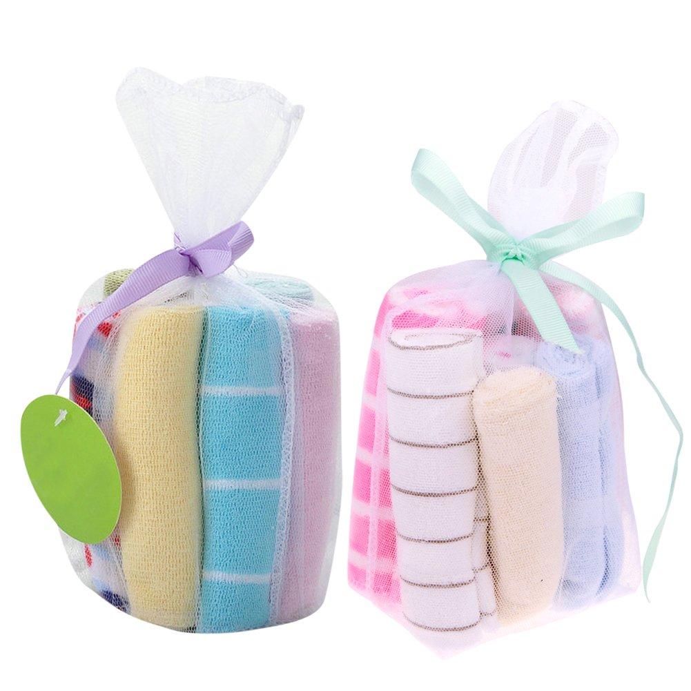 Domybest Lot de 8serviettes de nouveau-né nourrir bébé enfants Dessin animé infantile alimentation Bavoirs salive Serviette Coton Mouchoirs (couleur aléatoire)