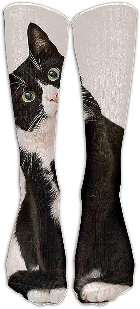 NA Langes Kleid Socken bunte schwarz wei/ße Katze Sport bequem atmungsaktiv /über der Wade Rohr