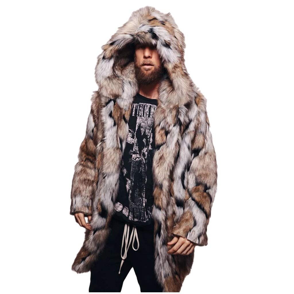 Benficial Fashion Men's Winter Warm Leopard Thick Hooded Coat Jacket Faux Fur Outwear Overcoat Cardigan Brown by Benficial