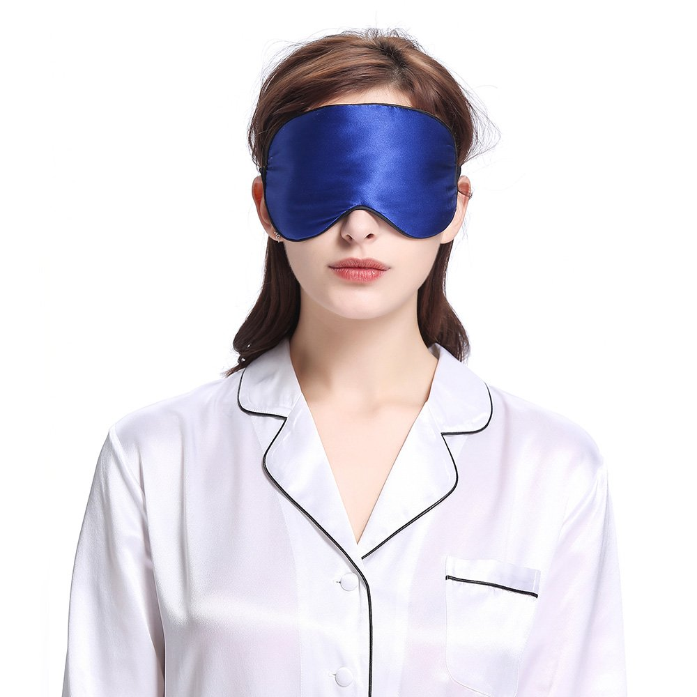 LILYSILK Mulberry Silk Sleeping Eye Mask Blindfold Natural Pure Silk with Black Trimming Travel Anti Aging Breathable Soft Smooth Blue 19 Momme