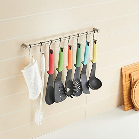Beelee Wall Mounted Brass Kitchen Utensil Hanging Rack Rail With 8  Adjustable Hooks, Polished Chrome