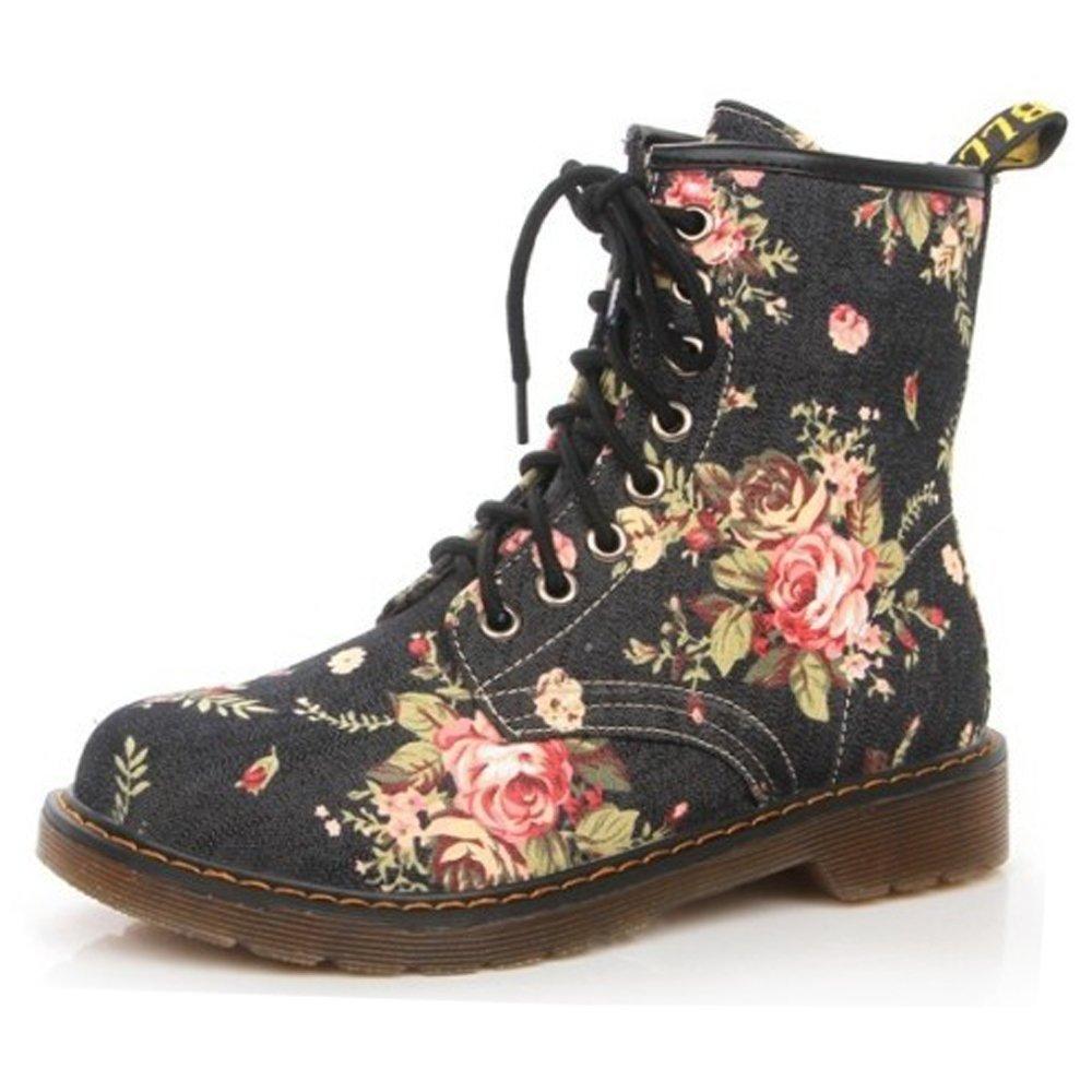 BOZEVON Femme Martin Bottes Bottines Femme Vintage Floral Floral Haut Hiver Lacets Boots Chelsea Plateforme Bottines Chaussures, Noir Noir 6fcfeef - reprogrammed.space