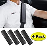 GAMPRO 4-Pack Black Carbon Fiber Car Seat Belt Pad