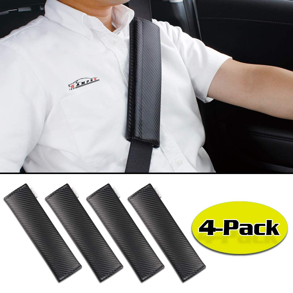 GAMPRO 4-Pack Black Carbon Fiber Car Seat Belt Pad Cover, Soft Car Safety Seat Belt Strap Shoulder Pad for Adults and Children,Useful Shoulder Suitable for Backpack, Backpack, Shoulder Bag(4-Pack) by GAMPRO