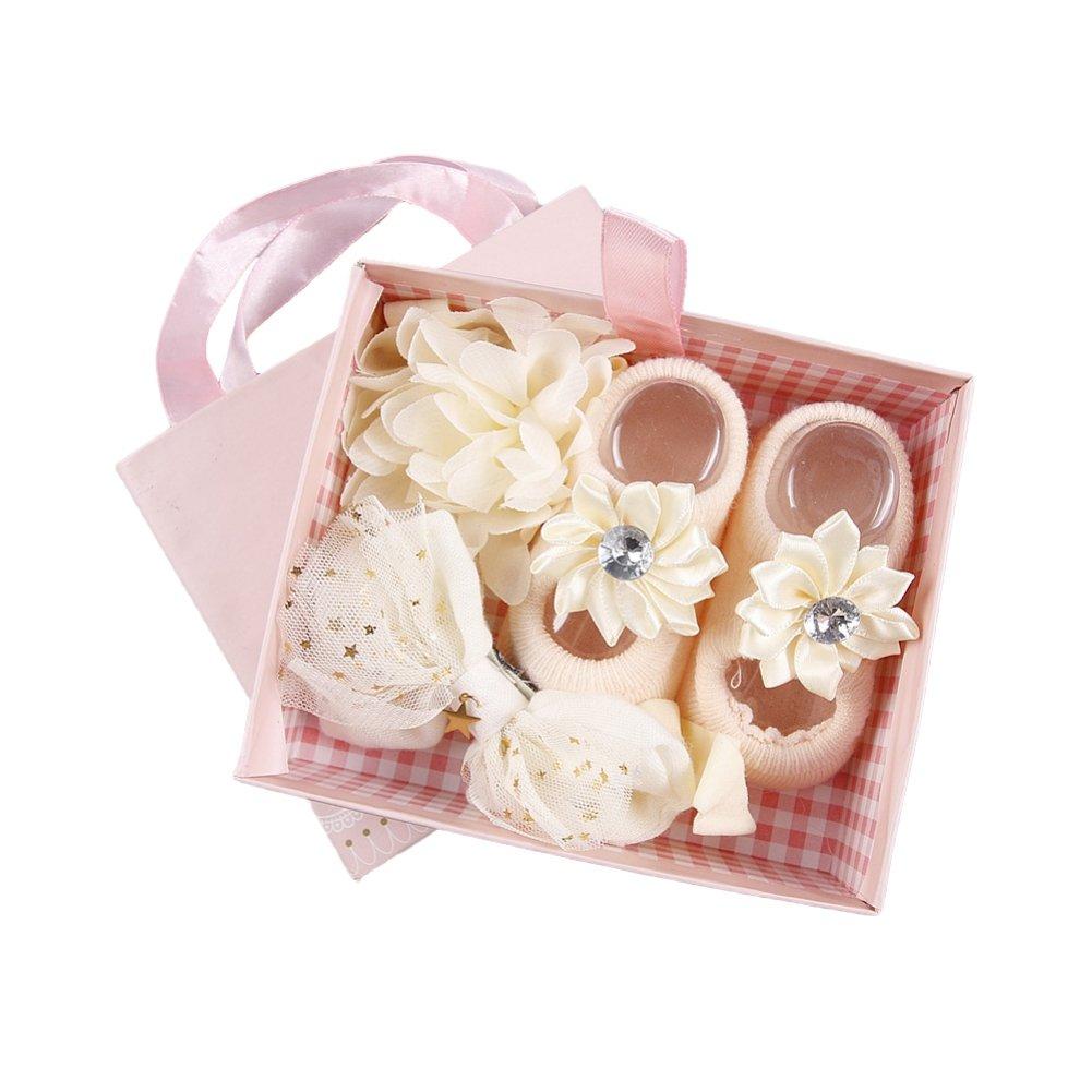 ? BOBORA ? Newborn Baby Girl Organic Anti Slip Socks + Girl's Flower Crown Headbands Sets with Gift Box- Best Baby Shower Gift