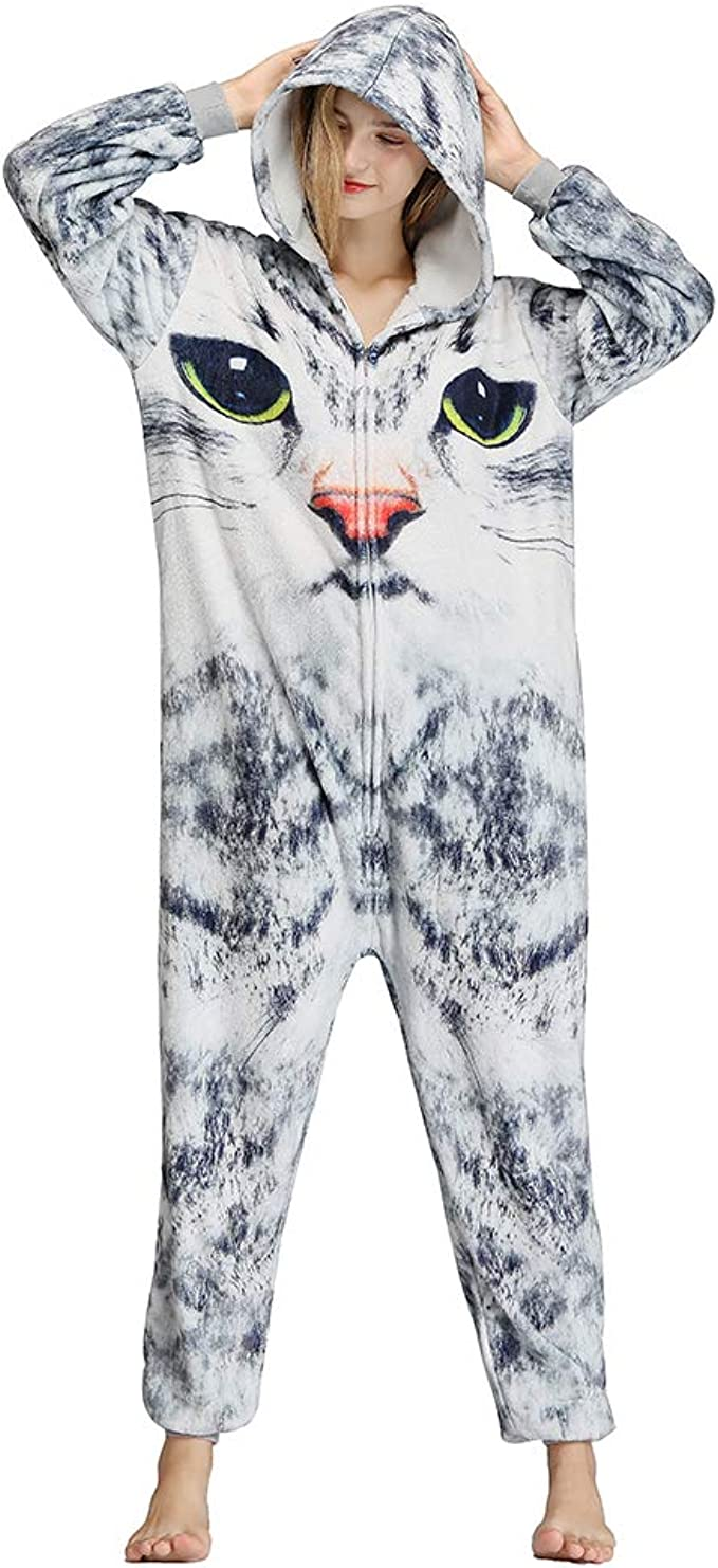 Honeystore Unisex Cute Cat Pajamas One Piece Animal Halloween Costume Sleepwear