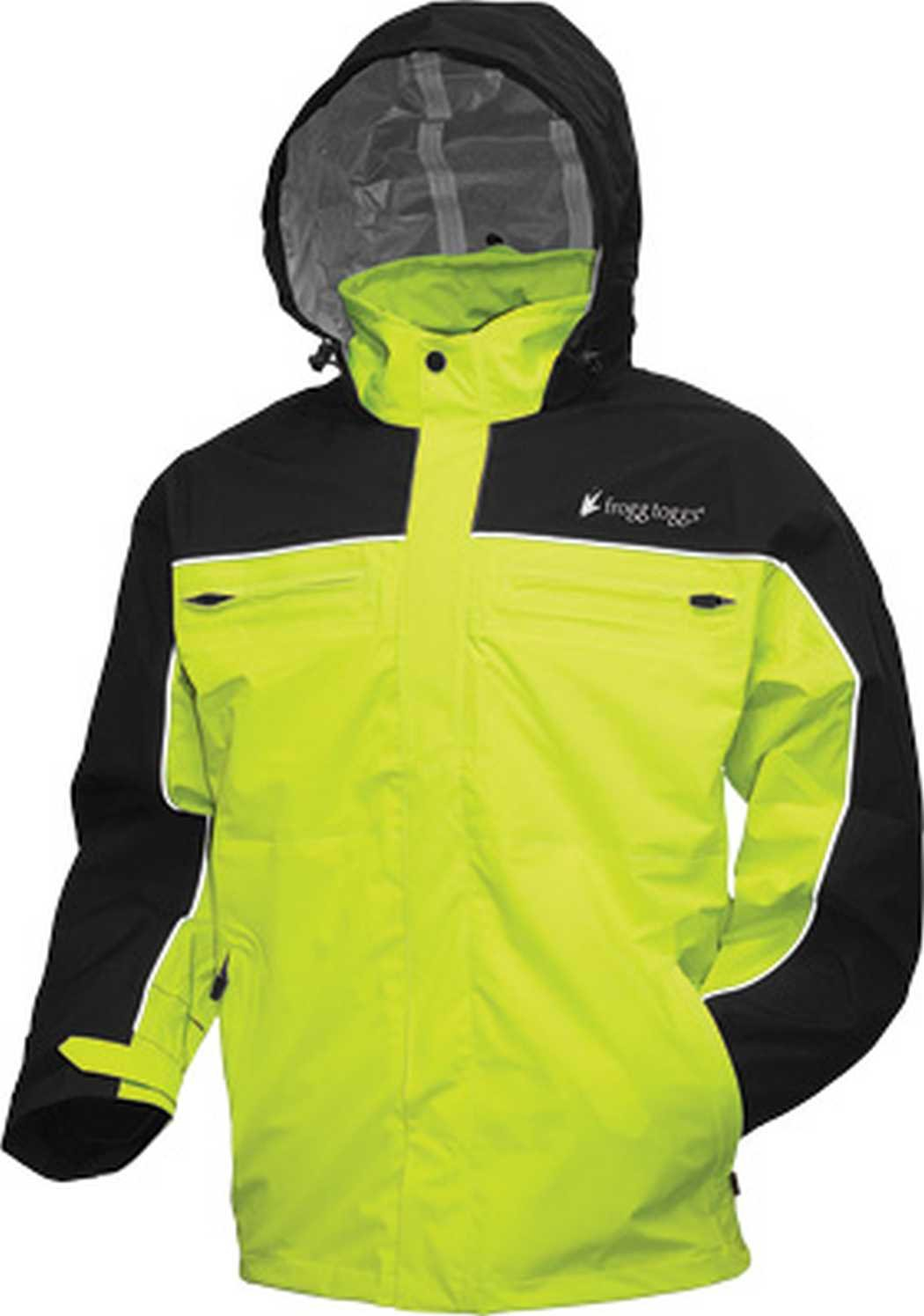 Frogg Toggs Pilot Cruiser Jacket, Black/Hi-Viz Green, Medium