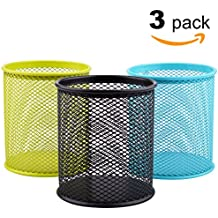 MaxGear Mesh Pen Holders Metal Pencil Cup Holder Pen Organizer Pencil Holder for Desk Office Pencil Holders, 3 Pack for 3 Colors: Green/Blue/Black