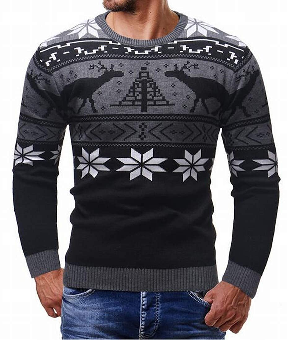 SHOWNO Mens Thermal Long Sleeve Christmas Knitting Crewneck Pullover Sweater