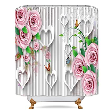 Pink Rose Shower Curtain Floral Love Heart Shape Flower Butterfly Striped White Romantic Decor Fabric Set Polyester Waterproof 72x72 Inch 12 Pack