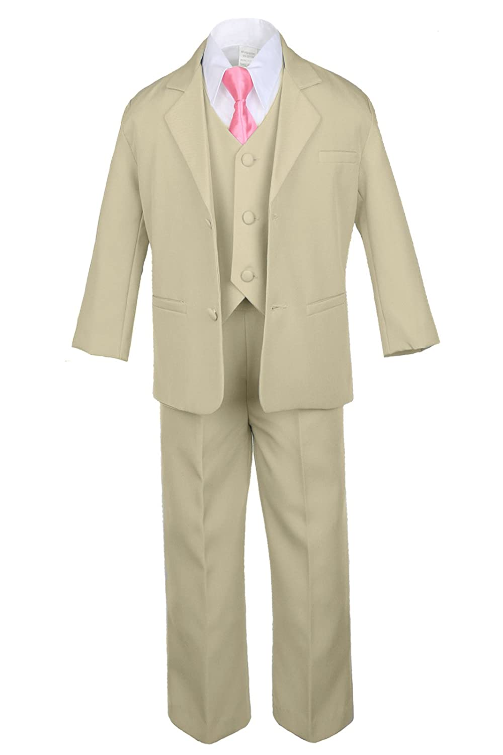 Unotux 6pc Boy Khaki Tuxedo Suits with Satin Coral Red Necktie from Baby to Teen