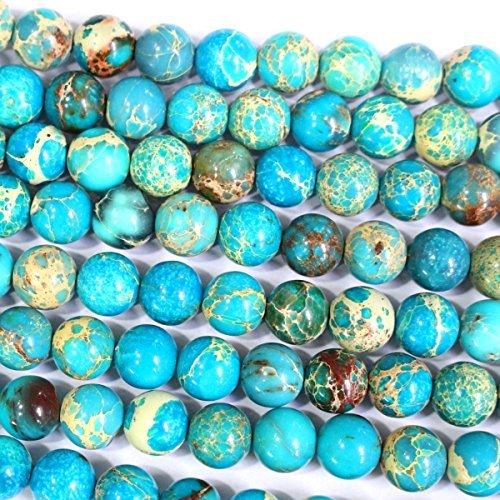 Jasper Round Beads - Natural Genuine Blue Sea Sediment Jasper Round Gemstone Jewelry Making Loose Beads (8mm)