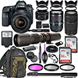 Canon EOS 6D Mark II DSLR Camera w/24-105mm USM Lens Bundle + Canon EF 75-300mm III Lens, Canon 50mm f/1.8 and 500mm Preset Lens + Canon Backpack + 64GB Memory + Monopod + Professional Bundle