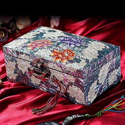 HAIHF Jewelry Box, Mother of Pearl Purple Asian Lacquer Women Wooden Jewellery Trinket Box, Classical Hand-Painted Wooden Push Light Lacquer Jewelry Box ()