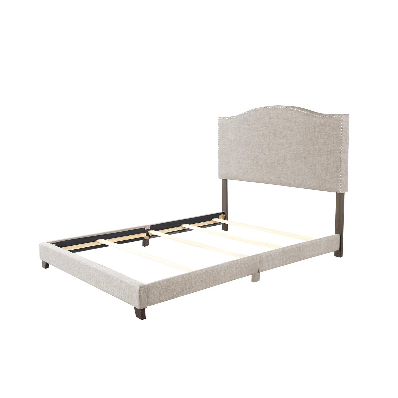 PIKA PIKA QIO Bettrahmen Queen Size gepolstertes Leinen Nail Head Trim Platform Bett mit Lattenrost Doppelbett