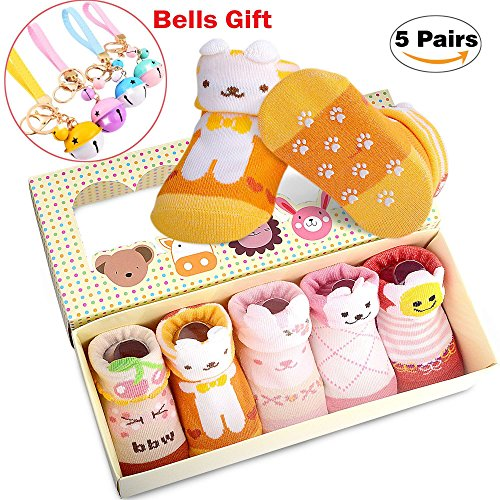 5 Pairs New Born Baby Socks 3D Ears Non Skid Animal Boxed Socks for Infant Newborn +Cute Bells free gift (Girl-Color, 0-6 month)