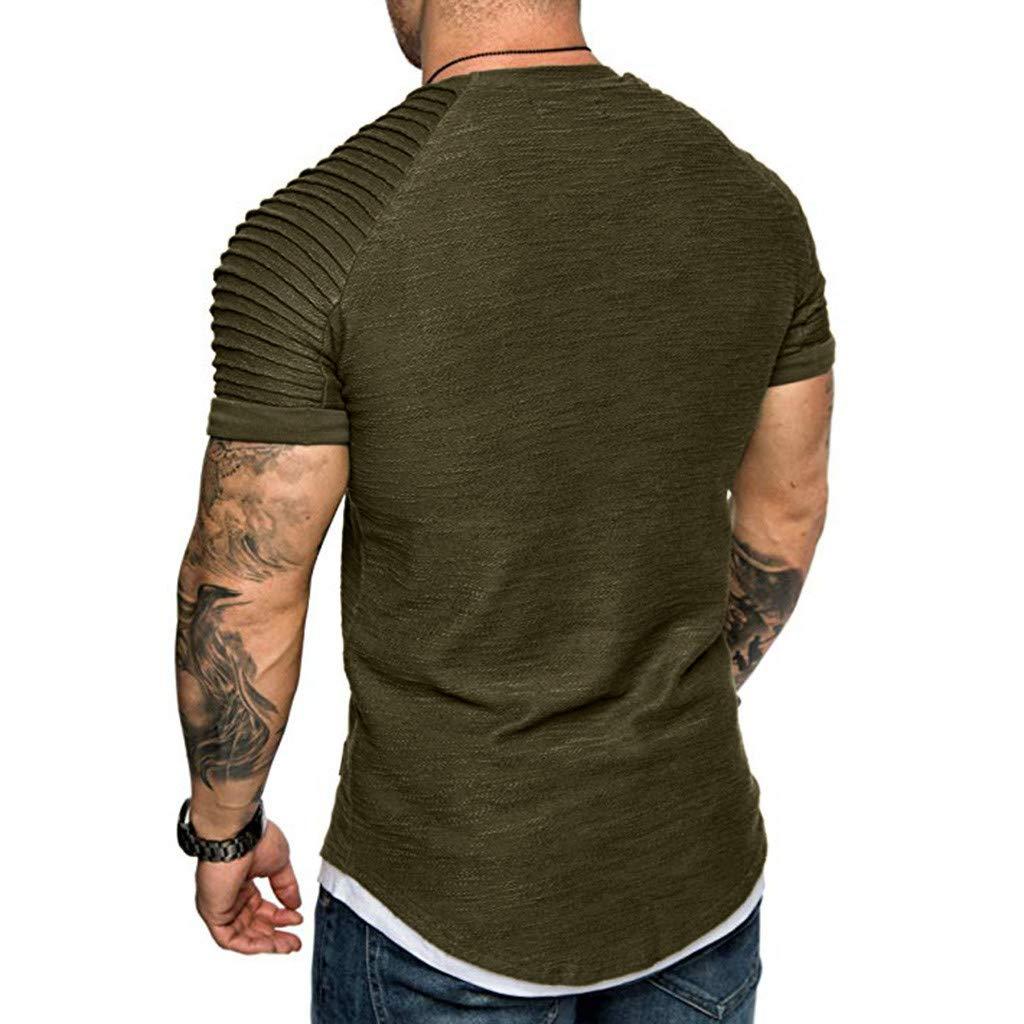 Fashion Men's Comfort Soft Short Sleeve T-Shirt, ANKOLA Summer Pleated Slim Fit O Neck Raglan Tops Blouse Army Green by ANKOLA STORE (Image #3)