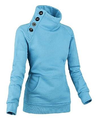 Mujer Color Sólido Sudaderas Cuello Alto Hoodies Manga Larga Pullover Corto Chaquetas Azul M: Amazon.es: Ropa y accesorios