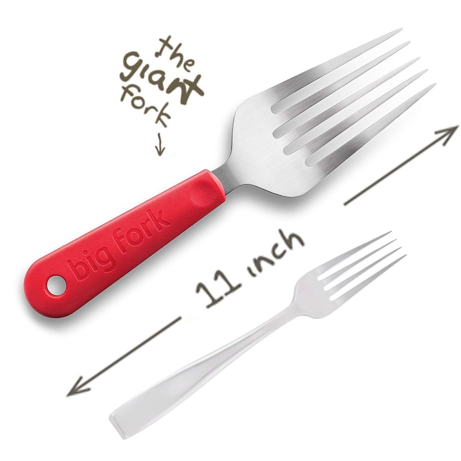 Big Fork, Large Cooking Fork BBQ & Grilling Tool Salad and Spaghetti Server with Comfort Grip (Grey) NEW SODA BFV1GRY6