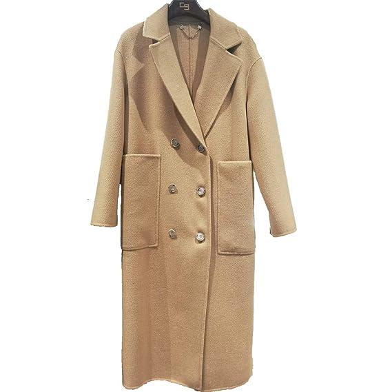 e6bfcbb65cf2 CG Women's Long Coat Lapel Double-Breasted Wool Slim Parka Jacket Cardigan  Overcoat G018: Amazon.co.uk: Clothing