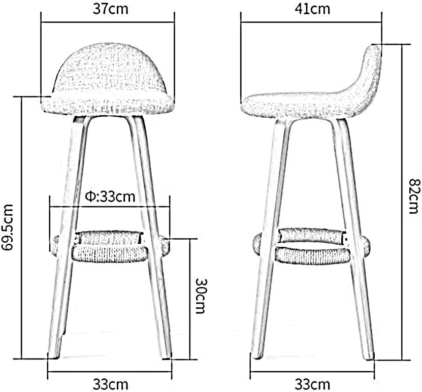 ESSEASON Chairs Sofas Stools Bar chair Solid Wood Stool for Bar, Dining, Sales Offices, Front Desk 32 * 32 * 48(L*W*H). Home Office Furniture (Color : C, Size : 1002) A