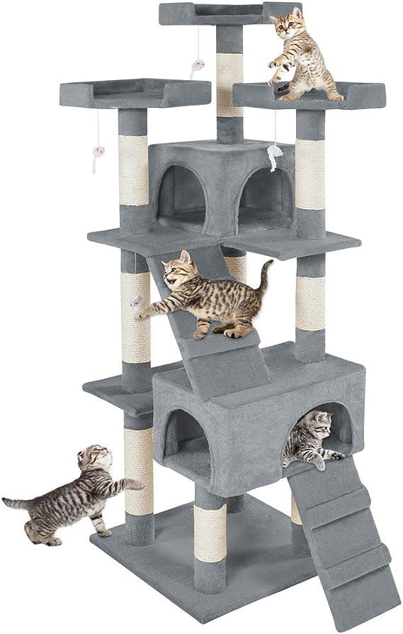 TecTake Rascador Árbol para Gatos Sisal (Gris   No. 400481)