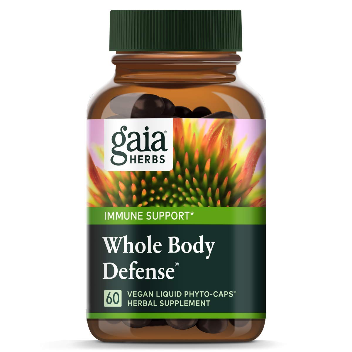 Gaia Herbs Whole Body Defense, Vegan Liquid Capsules, 60 Count – Daily Immune Support and Wellness Formula, Astragalus, Maitake Organic Echinacea