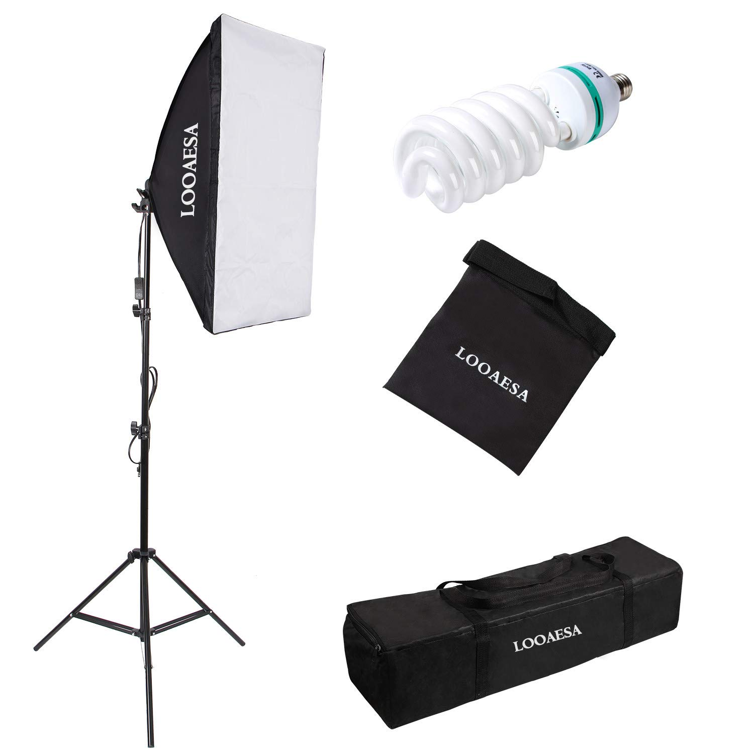 1350W Photography Lighting Softbox Lighting Kit Continuous Photo Video Lighting System with Sandbag and 5500K Bulb 20''X28'' Professional Studio Lights Equipment for Youtube Filming Portraits by LOOAESA by LOOAESA