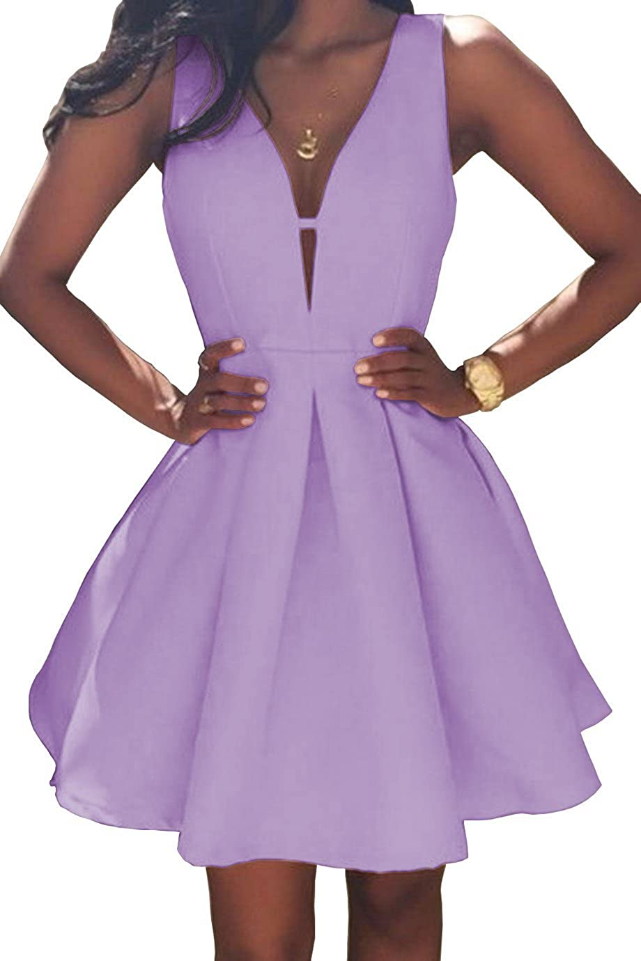 purplec JQLD Women's VNeck Aline Satin Homecoming Dress Short Evening Party Gown Ruched Skirt