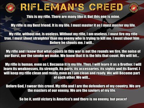 Usmc Marines Rifleman's Creed Poster