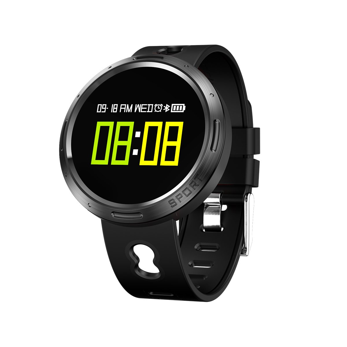 Smart Watch Fitness Tracker Heart Rate Monitor Tracker Smart Bracelet Activity Tracker Bluetooth Pedometer With Sleep Monitor And Color Screen For Adults Kids (Color : Black)
