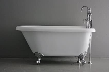 "53"" Hotel Collection Classic Clawfoot Bath Tub and Faucet Pack, Chrome Fixtures and Feet"