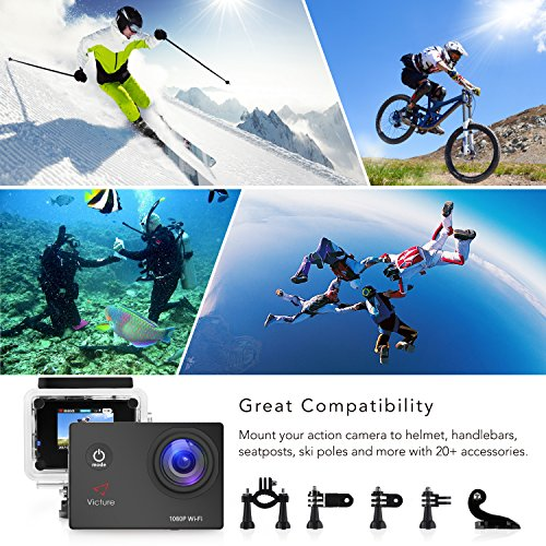 Victure Action Camera WIFI 14MP 1080P HD Waterproof Sports Camera 30M  Underwater Diving Camera Act