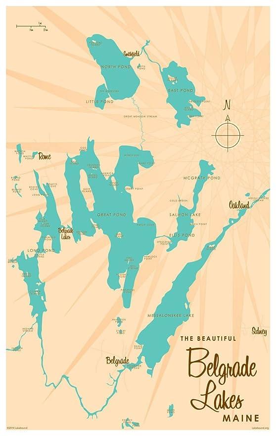 Amazon Com Belgrade Lakes Maine Map Vintage Style Art Print