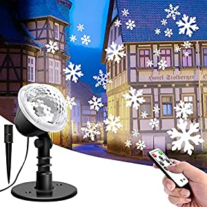 Lightess Luci del Proiettore Natale LED Proiettore Decorativo Effetto Fiocchi di Neve 4 Modalità Impermeabile IP65 con Telecomando Faretti Esterno per Festa, Natale, Halloween, Giardino (S2) 4 spesavip
