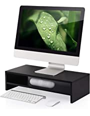 FITUEYES Wood 2-Tier Monitor Stand Fax/Printer Riser Desk with Keyboard Storage fit Computer Laptop PC LCD LED Screen TV DT205401WB