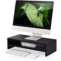 FITUEYES 2-Tier Monitor Stand Fax/Printer Riser Desk with Keyboard Storage Space fit Telephone Laptop PC iMac LCD LED TVs DT205401WB